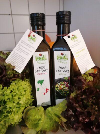 Aktion zu Weihnachten 1 Fl. Salatsaucen Grüne Wiese  und 1 Flasche Italian Style +1 Fl. Gratis